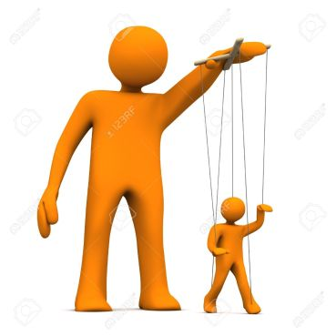 18987383-Puppet-artist-with-orange-marionette-on-the-white-background--Stock-Photo