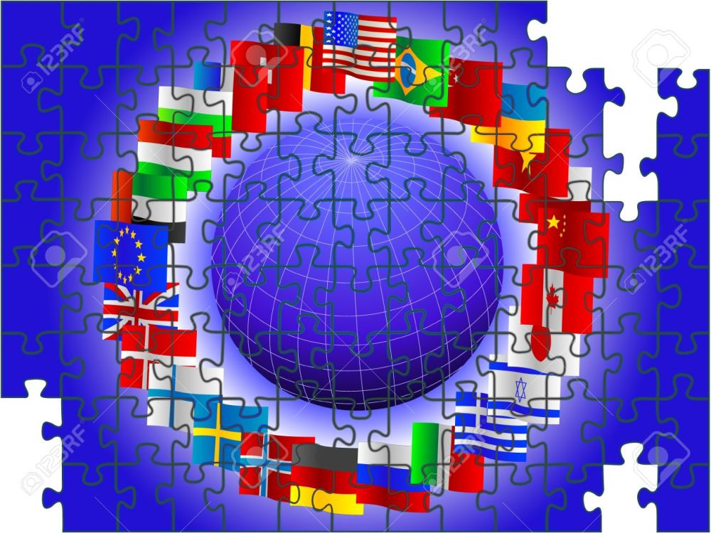 9141302-Background-from-globe-and-flags-of-the-world-in-the-form-of-a-puzzle-in-a-vector-Stock-Vector